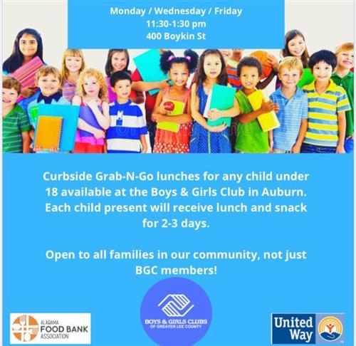 This is the flyer for the Grab-N-Go Lunches at the Boys & Girls Club of Greater Lee County.