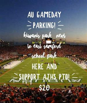 AU Gameday Parking Kiwanis Park next to East Samford School. Park here and support AJHS PTO $20